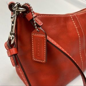 RARE COACH red hampton mini baguette zip top